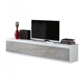 Mobile TV grigio adatto a televisori fino a 90 pollici. Elevato spessore del top per la massima resistenza e rigidà.