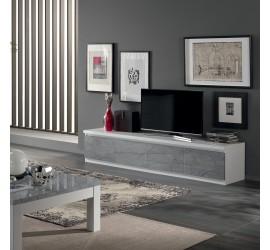 Roma Mobile Porta TV Bianco/Marmo Oro Laccato Lucido 4 Ante, 220 x 50 x h45 cm