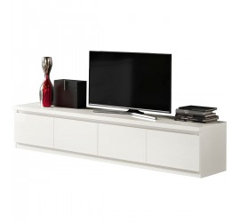 Mobile TV bianco adatto a televisori fino a 90 pollici. Elevato spessore del top per la massima resistenza e rigidà.