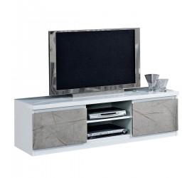 Mobile TV grigio ideale per televisori fino a 65 pollici. Elevato spessore del top. Foro passacavi 50 mm nel vano a vista.