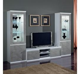 Roma Mobile Porta TV Bianco/Marmo Oro Laccato Lucido, 150 x 50 x h45 cm