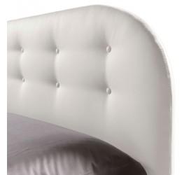 Struttura Letto Matrimoniale Cleo Frame in Ecopelle Bianco con bottoni, 160x190 cm