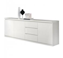 Elegante e resistente madia bianca lucida dalle linea moderna. Tre ante con chiusura ammortizzata e 3 cassetti.