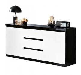 Elegante e resistente madia nera lucida dalle linea moderna. Due ante con chiusura ammortizzata e 3 cassetti.