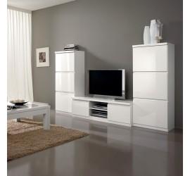 Roma Colonna 3 Ante Bianco Laccato Lucido per Salotto Mobile TV, 154 x 65 x 40 cm