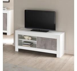 Modena Mobile Porta TV Bianco Laccato Lucido e Marmo, 112 x 45 x h54 cm