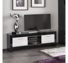 Modena Mobile Porta TV Nero e Bianco Laccato Lucido, 160 x 45 x h54 cm