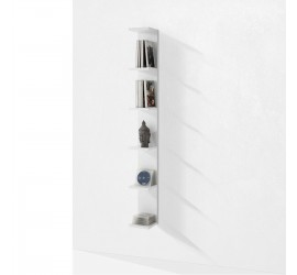 Scaffale Verticale Steps 6 ripiani bianco opaco antigraffio, 18 x 160 cm
