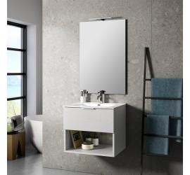 CAB Composizione Bagno con Base Sospesa da 60 cm, Lavabo, Specchiera e Lampada Led, Bianco Pietra
