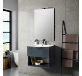 CAB Composizione Bagno con Base Sospesa da 60 cm, Lavabo, Specchiera e Lampada Led, Blu Pietra
