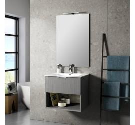 CAB Composizione Bagno con Base Sospesa da 60 cm, Lavabo, Specchiera e Lampada Led, Grigio Legno