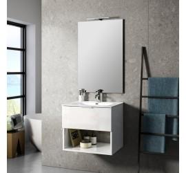 CAB Composizione Bagno con Base Sospesa da 60 cm, Lavabo, Specchiera e Lampada Led, Bianco Lucido
