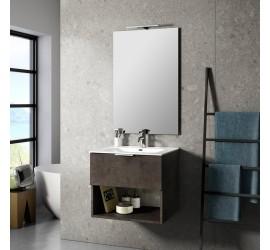 CAB Composizione Bagno con Base Sospesa da 60 cm, Lavabo, Specchiera e Lampada Led, Marrone Pietra