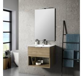 CAB Composizione Bagno con Base Sospesa da 60 cm, Lavabo, Specchiera e Lampada Led, Legno Naturale