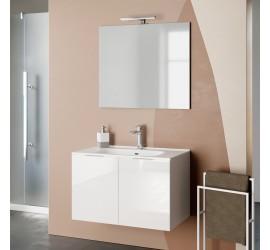 SIMPY Composizione Bagno con Base Sospesa da 80 cm, Lavabo, Specchiera e Lampada Led, Bianco Lucido