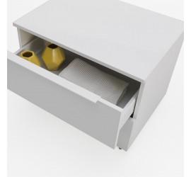 NABY Cassettiera con ruote 70 x 38 x h57 cm, laccato bianco opaco