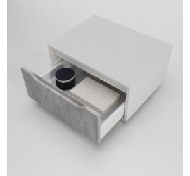 BEKY Cassettiera con ruote 60 x 45 x h32 cm, Bianco opaco e Cemento