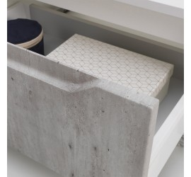 BEKY Cassettiera con ruote 120 x 45 x h32 cm, Bianco opaco e Cemento