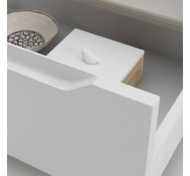 BEKY Cassettiera con ruote 120 x 45 x h32 cm, laccato Bianco Opaco
