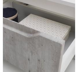 BEKY Cassettiera doppia con ruote 90 x 45 x h57 cm, Bianco opaco e Cemento