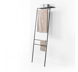SCAY Appendi Abiti Porta Asciugamani in metallo 59.5 x 47 h180 cm con mensola cappelliera, nero opaco