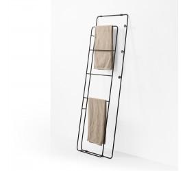 SCAY Appendi Abiti Porta Asciugamani in metallo 48 x h160 cm con ganci, nero opaco
