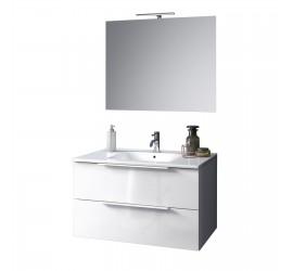 Composizione Bagno con Base sospesa da 80 cm, Lavabo, Specchiera e Lampada Led, Bianco Lucido