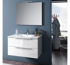 TAKI Composizione Bagno con Base sospesa da 80 cm, Lavabo, Specchiera e Lampada Led, Bianco Lucido