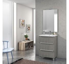 TAKI Composizione Bagno con Base da 60 cm, Lavabo, Specchiera e Lampada Led, Grigio Legno