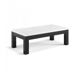 Roma Tavolino da Salotto Nero e Bianco Laccato Lucido, 127 x 66 x 43 cm