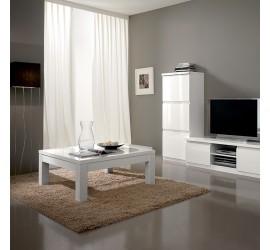 Roma Tavolino da Salotto Bianco Laccato Lucido, 127 x 66 x 43 cm