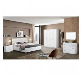 Camera da letto completa Matrimoniale Mary con Struttura Letto 160x190-200, 2 comodini e cassettiera, Bianca