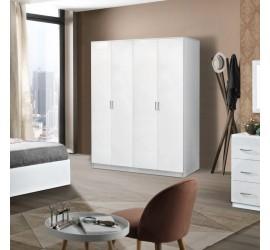 Mary Armadio Guardaroba 4 Ante Bianco Laccato Lucido, 164 x 54 x h210 cm