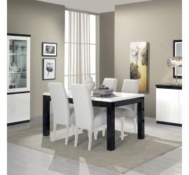 Roma Tavolo da Pranzo Nero e Bianco Laccato Lucido, 190 x 90 cm