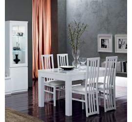Roma Tavolo da Pranzo Bianco Laccato Lucido, 160 x 90 cm