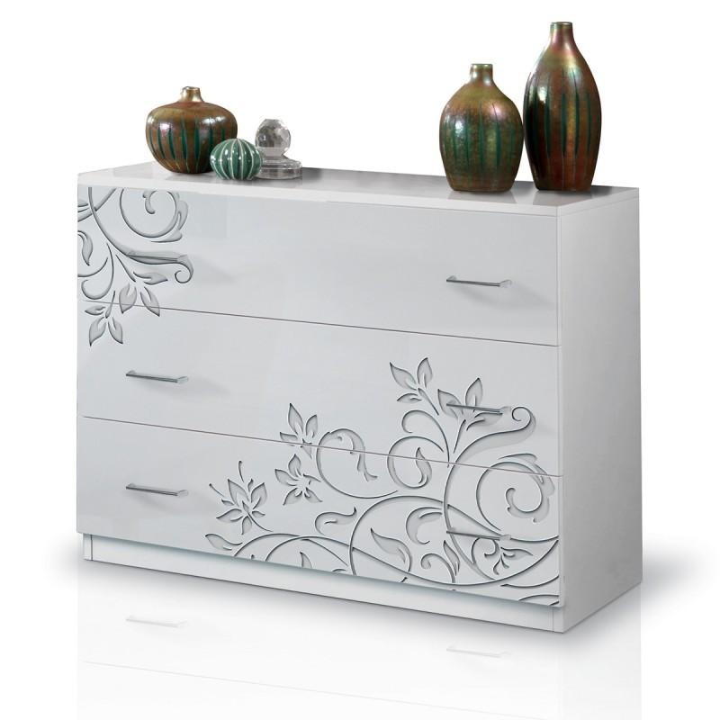 Cassettiera comò 3 Cassetti Bianco Serigrafato  Laccato Lucido 100 x 44 cm