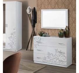 Mary Comò Cassettiera 3 Cassetti Bianco Serigrafato Laccato Lucido, 100 x 44 x h77 cm