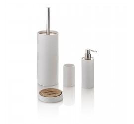 Set Accessori Bagno Bianco/Bambù Dispenser Bicchiere Portasapone Portascopino