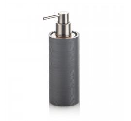 Set Accessori Bagno Grigio/Bambù con Dispenser Bicchiere Portasapone Portascopino