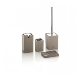 Set Accessori Bagno Tortora/Cromo Dispenser Bicchiere Portasapone Portascopino