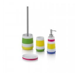 Set Accessori Bagno Multicolore Dispenser Bicchiere Portasapone Portascopino
