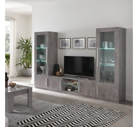 Greta Mobile Porta TV Marmo Laccato Lucido 2 Ante con ripiano Vetro con Luce LED, 156 x 47 x h45 cm