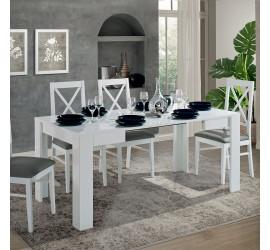 Idea Tavolo da Pranzo Allungabile Bianco Laccato Lucido, 90 x 90 x h77 cm