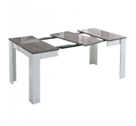 Idea Tavolo da Pranzo Allungabile Grigio Marmo Laccato Lucido, 90 x 90 x h77 cm