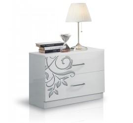 Mary Comodino 2 Cassetti Bianco Serigrafato Laccato Lucido, 55 x 37 x h48 cm