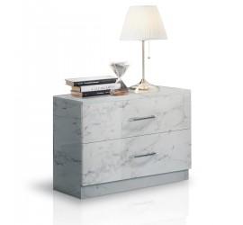 Mary Comodino 2 Cassetti Marmo Bianco Laccato Lucido, 55 x 37 x h48 cm