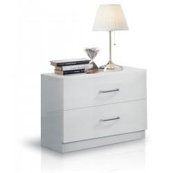 Mary Comodino 2 Cassetti Bianco Laccato Lucido, 55 x 37 x h48 cm