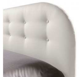 Letto Matrimoniale Cleo Basic in Ecopelle Bianco con bottoni con Rete, 160x190 cm