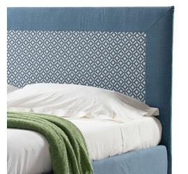 Letto Matrimoniale Leda Basic in Tessuto Azzurro con Rete, 160x190 cm
