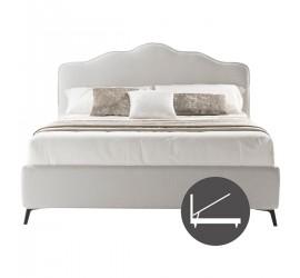 Letto Matrimoniale Rea in Tessuto Bianco con Rete e Box contenitore, 160x190 cm